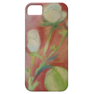 white roses on pink background - oil on paper iPhone SE/5/5s case