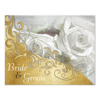 White Roses on Silver w/ Gold-Flate 2 sided invite