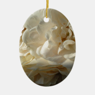 White Roses Painting Double-Sided Oval Ceramic Christmas Ornament