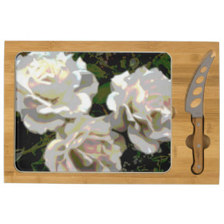 White Roses Photograph Cheese Board