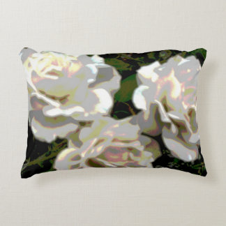 White Roses Photograph Decorative Pillow