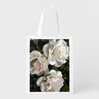 White Roses Photograph Grocery Bag