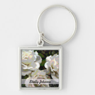White Roses Photograph Keychain