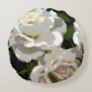 White Roses Photograph Round Pillow