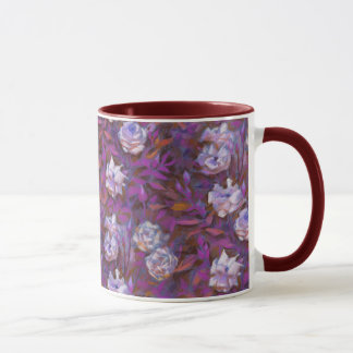 """White roses, purple leaves"", beautiful flowers Mug"