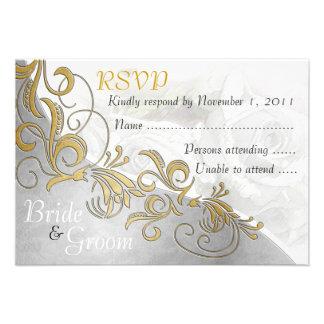 White Roses & Silver - Bride & Groom RSVP Card