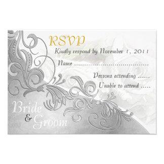 White Roses & Silver - Bride & Groom RSVP Card - 2