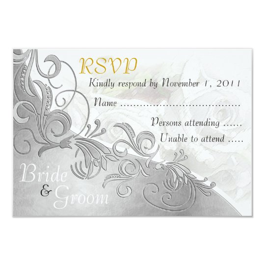 White Roses & Silver - Bride & Groom RSVP Card - 2