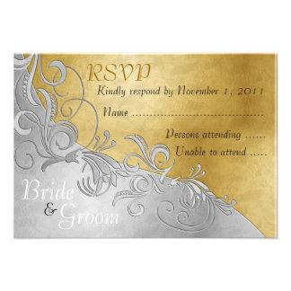 White Roses & Silver - Bride & Groom RSVP Card - 3