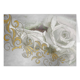 White Roses & Silver Embossing Wedding Card - 1