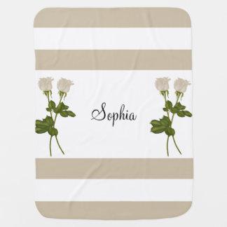 White Roses Swaddle Blanket
