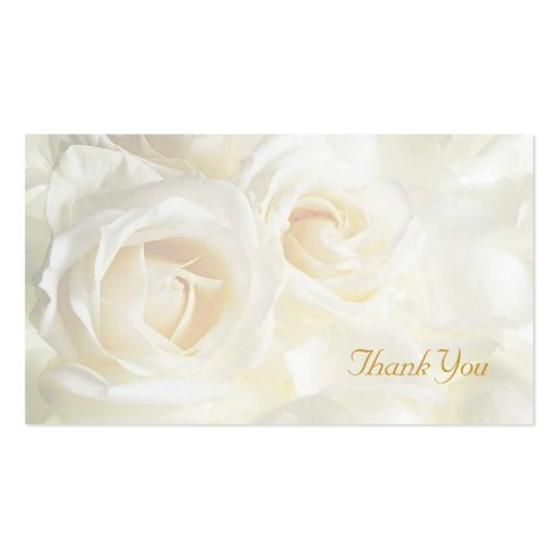 White Roses Thank You Wedding Double-Sided Standard Business Cards (Pack Of 100)