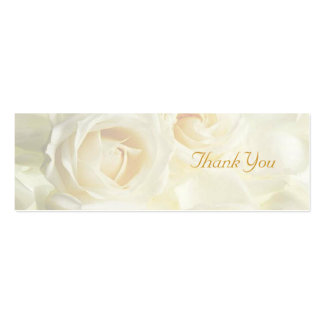 White Roses Thank You Wedding Favor Tag Double-Sided Mini Business Cards (Pack Of 20)