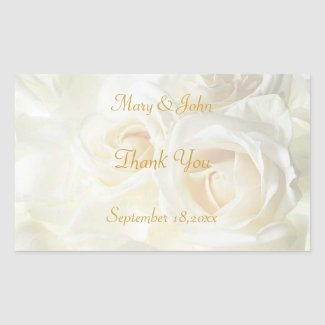 White Roses Thank You Wedding Sticker sticker