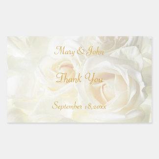 White Roses Thank You Wedding Sticker