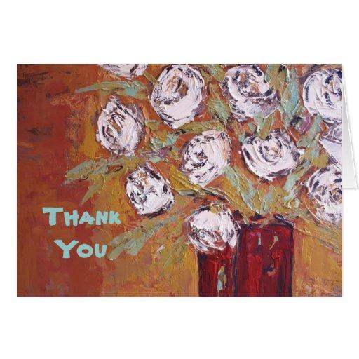white roses, ThankYou card