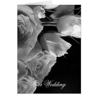 White Roses Wedding Invitation Greeting Card