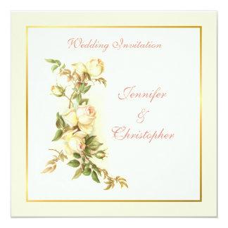 "White roses wedding invitation 5.25"" square invitation card"