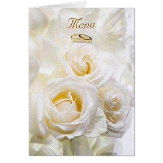 White Roses Wedding Menu card