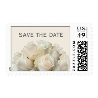 White Roses Wedding Save the Date Postage