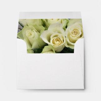 White Roses Wedding Suite Blush Champagne Envelope