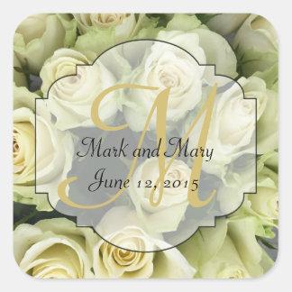 White Roses Wedding Suite Blush Champagne Square Sticker
