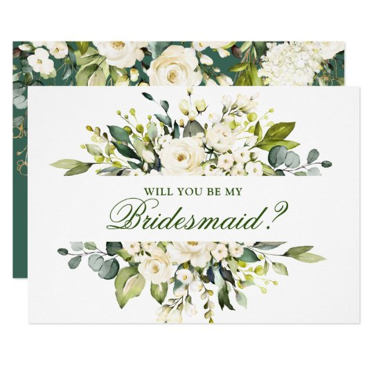 White Roses Will You Be My Bridesmaid Invitation