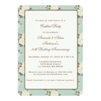 White Roses with Aqua 20th Anniversary Invitation