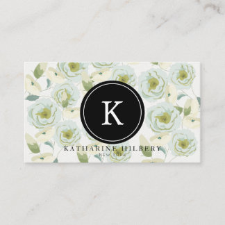 White Roses with Black Monogram Business Card