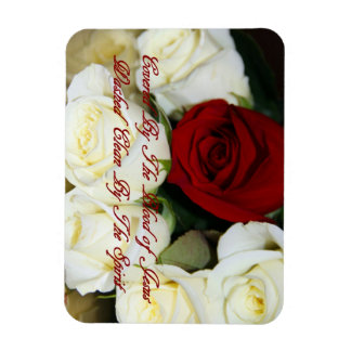 White Roses with one red rose Rectangular Photo Magnet