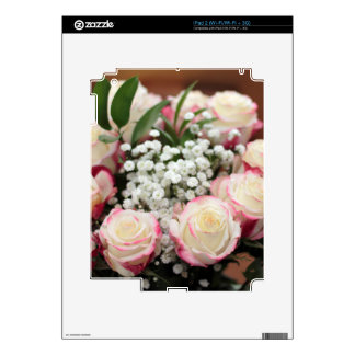 White Roses with Red Highlights Closeup Decal For iPad 2