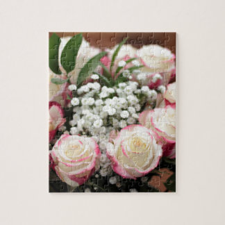 White Roses with Red Highlights Closeup Jigsaw Puzzle