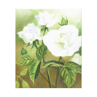 White Roses Wrapped Canvas Gallery Wrapped Canvas