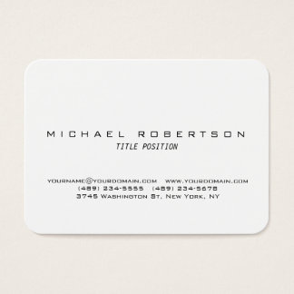 White Round Corner Minimalist Chubby Business Card