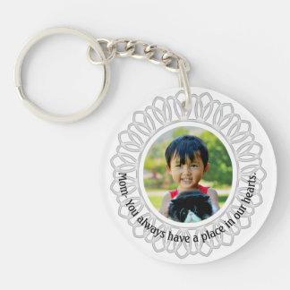 White Round Frame Photo Necklace, Mom Inscription Single-Sided Round Acrylic Keychain