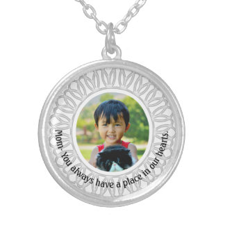 White Round Frame Photo Necklace, Mom Inscription Silver Plated Necklace