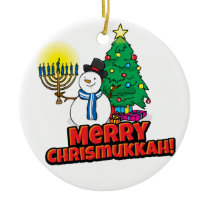 White Round Merry Chrismukkah with Snowman Ceramic Ornament