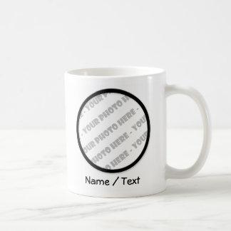 White Round Photo & Text Mug - Create Your Own