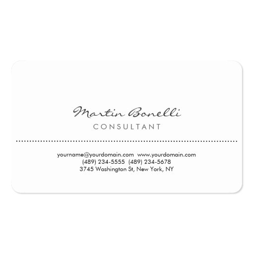 White Rounded Corner Consultant Business Card