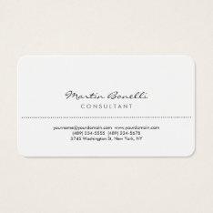 White Rounded Corner Elegant Consultant Minimalist Business Card at Zazzle