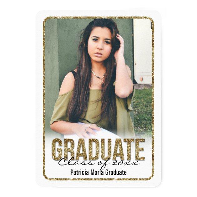 White Rounded Glitter High School Photo Graduation 5x7 Paper Invitation Card