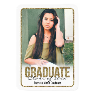 White Rounded Glitter High School Photo Graduation Card