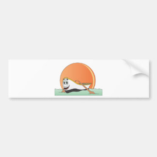 White Row Boat Cartoon Bumper Sticker