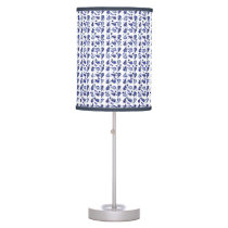 White Royal Blue Navy and Silver Paisley Table Lamp
