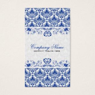 White & Royal Blue Retro Floral Damasks Pattern Business Card