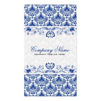 White & Royal Blue Retro Floral Damasks Pattern Double-Sided Standard Business Cards (Pack Of 100)