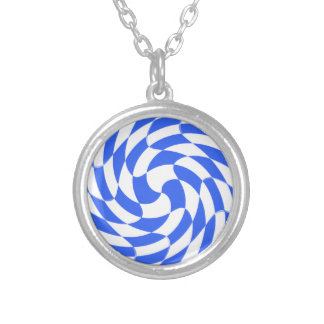 WHITE ROYAL BLUE SWIRLS GIRLY FUN CHECKERBOARD SQU NECKLACES