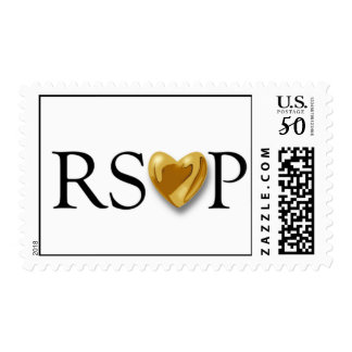 White RSVP Stamp With Gold Heart