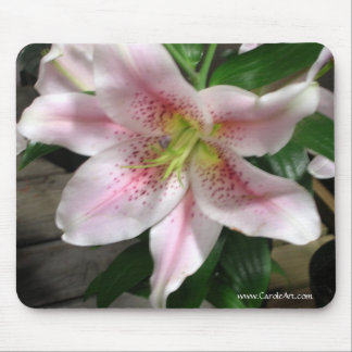 White Rubrum Lily Mousepad