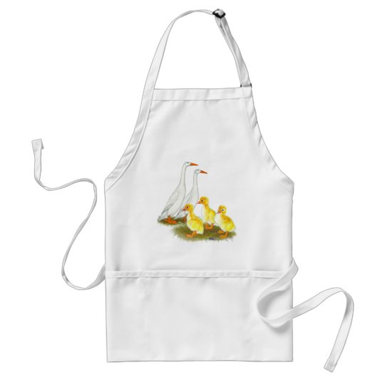 White Runner Duck Family Adult Apron